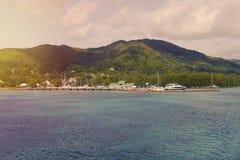 Les Seychelles tropicales Palmiers sur la La Digue de thе Photographie stock
