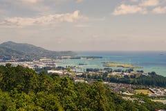 Les Seychelles tropicales Palmiers sur le Mahe Images stock