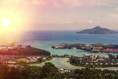 Les Seychelles tropicales Palmiers sur le Mahe Photographie stock