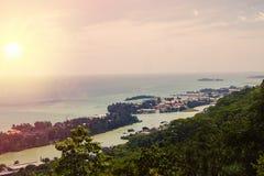 Les Seychelles tropicales Palmiers sur le thе Mahe Photo libre de droits