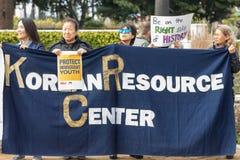 Les signes coréens de centre de ressources aux rêveurs de défense se rassemblent Images stock