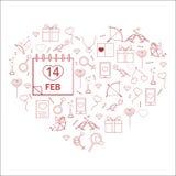 Les signes de l'amour ont arrangé dans une forme de coeur Icônes dans un style linéaire la Saint-Valentin Photos libres de droits