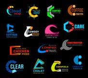 Les signes de la lettre C et les icônes, polices de vecteur conçoivent illustration libre de droits