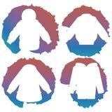 Les silhouettes blanches de manteau sur coloré éclabousse Photographie stock