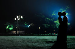 Les silhouettes de femme et d'homme en soirée stationnent images stock