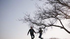 Les silhouettes des amants en fuite sur la colline près du grand arbre au coucher du soleil clips vidéos