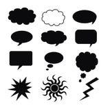 Les silhouettes des nuages sur un fond blanc Images libres de droits