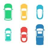 Les silhouettes ont coloré des voitures Photos stock