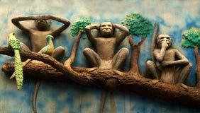 Les singes de Mahatma Gandhi Photographie stock libre de droits