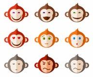 Les singes, différentes émotions ont coloré des icônes Images stock