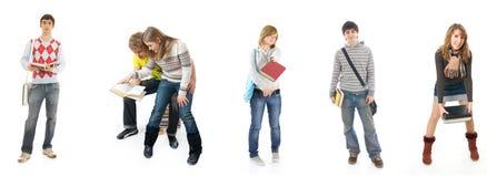 Les six jeunes étudiants d'isolement sur un blanc photos stock