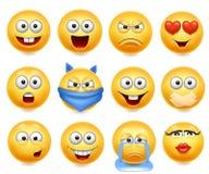 Les smiley dirigent l'ensemble Visages souriants avec des expressions du visage Cri heureux et affectueux et confus Photo libre de droits