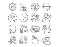 Les soins de la peau, ouvrent le système et les icônes d'idée Employé de valet, femmes recrutant des cadres et signes d'algorithm illustration libre de droits