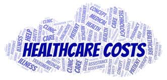 Les soins de santé coûtent le nuage de mot illustration stock