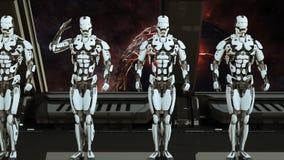 Les soldats de robots sur un vaisseau spatial saluent dans la perspective de l'univers et des planètes r illustration de vecteur