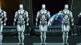 Les soldats de robots sur un vaisseau spatial saluent dans la perspective de l'univers et des planètes r illustration libre de droits