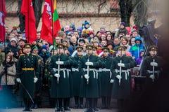 Les soldats des forces militaires lithuaniennes montent la garde de l'honneur Photo libre de droits