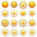 Les soleils. Éléments pour la conception. Image libre de droits