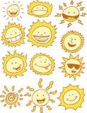 Les soleils - dessin animé Images libres de droits
