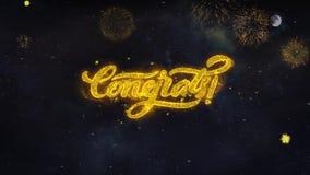 Les souhaits des textes de Congrats indiquent de la carte de voeux de particules de feu d'artifice illustration libre de droits