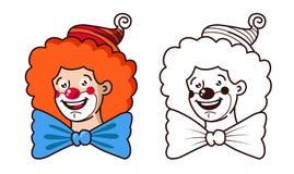 Les sourires aimables de clown Couleur et version noire et blanche illustration de vecteur