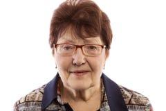 Les sourires de dame âgée Image stock