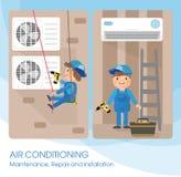 Les spécialistes plats en photo de vecteur travaillent avec l'équipement Installation ou réparation de climatiseur illustration libre de droits