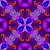 Les spirales g?om?triques color?es dirigent le mod?le sans couture Fond floral d'imagination de fractales avec l'effet lumineux B illustration stock