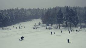 Les sports d'hiver, tobogganing récréationnel, skiant, traîneau monte Tir total de pente de ski clips vidéos