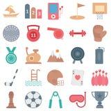 Les sports et les icônes de vecteur d'isolement par jeu consiste les gants, le gymnase, et beaucoup plus, utilisation spéciale po illustration stock