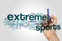 Les sports extrêmes expriment le concept de nuage sur le fond gris Photos stock