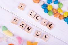 Les sucreries colorées, j'aime la sucrerie Photographie stock