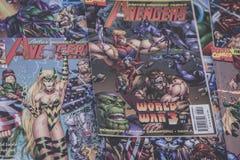 Les super héros de bandes dessinées de merveille de vengeurs photo stock