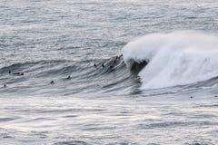 Les surfers montant les vagues énormes sur la côte ouest, près du point de pilier et des francs-tireurs échouent, Half Moon Bay,  image libre de droits