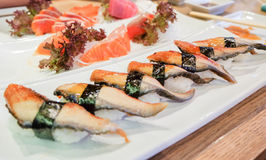 Les sushi d'anguille d'Anago avec l'algue de nori complètent sur le riz et nigiri SA photos stock