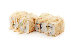 Les sushi ont placé avec les crêpes, le fromage et les légumes Images libres de droits