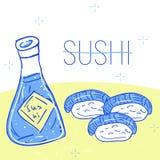 Les sushi ont placé le style tiré par la main de croquis Image stock