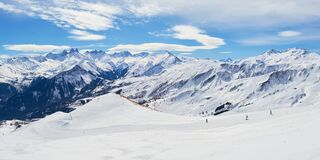 Free Les Sybelles Ski Slopes And Surrounding White Mountain Peaks, On A Sunny Winter Day - Panorama In The French Alps Royalty Free Stock Photo - 168880125