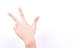 Les symboles de fille de main de doigt ont isolé la félicitation de salut de doigts du concept trois sur le fond blanc images stock