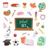 Les symboles de fournitures scolaires ont isolé l'illustration de vecteur d'équipement De nouveau aux graphismes d'école illustration stock