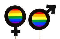 Les symboles de genre avec LGBT et arc-en-ciel marquent des couleurs Images stock