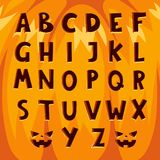 Les symboles des textes d'alphabet de police de potiron de Halloween dirigent l'illustration illustration de vecteur