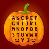 Les symboles des textes d'alphabet de police de potiron de Halloween dirigent l'illustration illustration libre de droits