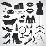 Les symboles et les accessoires de la femme Photographie stock