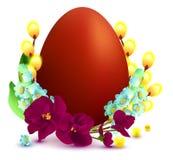 Les symboles et les accessoires de Pâques egg, la branche de saule, lis de vallée, violet Photo stock