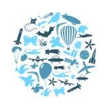 Les symboles et les icônes bleus de thème de vol ont placé en cercle eps10 Images libres de droits