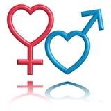 Les symboles mâles et femelles stylized comme forme de coeur Images libres de droits