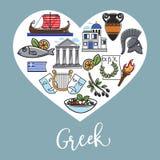 Les symboles nationaux grecs à l'intérieur du coeur forment l'affiche promotionnelle illustration libre de droits