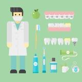 Les symboles plats de dentiste de soins de santé recherchent le concept de système de santé d'outils et l'hygiène médicaux d'inst Images libres de droits