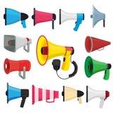 Les symboles pour la promotion et annoncent Photos de vecteur des haut-parleurs bruyants illustration de vecteur